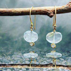 Matana handmade Aquarium on 24k hook earrings